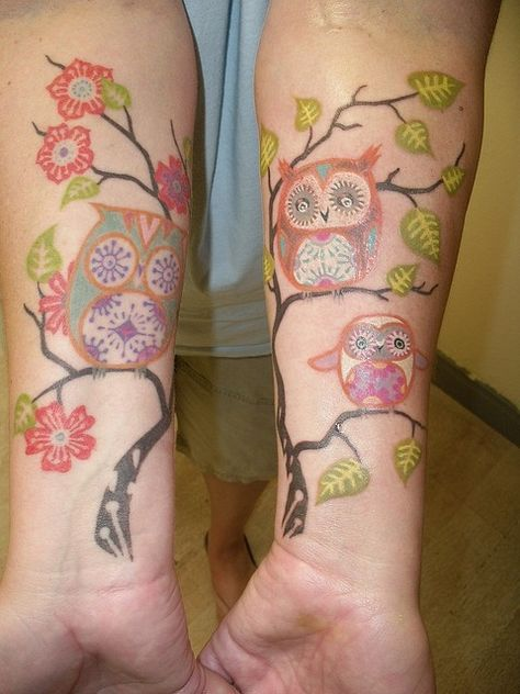 Owl tree tattoo.  Style, for butterfly? for a painting on canvas not u being the canvas