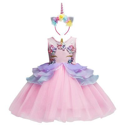Kids Girls Unicorn Costume Cosplay Party Fancy Dress Up Princess Birthday Outfit