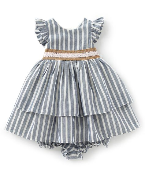 ec3b21126 Shop for Laura Ashley London Baby Girls 12-24 Months Striped Chambray  Fit-And