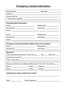 Student Emergency Contact Form English And Spanish Emergency Contact Form Emergency Contact Daycare Forms