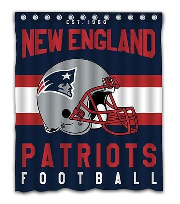 Patriots Football Team Striped Flag Shower Curtain New England