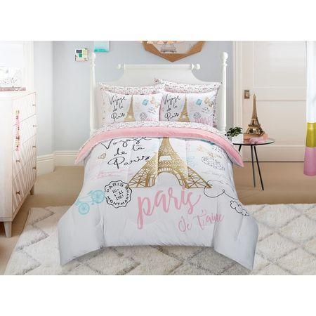 Mainstays Kids Paris Bed In A Bag Bedding W Reversible Comforter