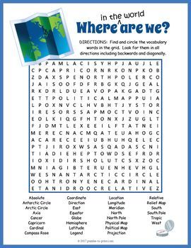 Map Vocabulary Word Search Puzzle Worksheet Activity Vocabulary Words Word Search Puzzle Word Find Vocabulary worksheets word search puzzles