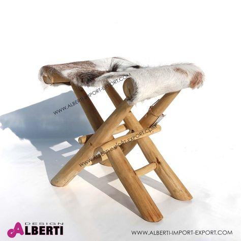 Sedie Pieghevoli In Pelle.Sgabello Legno Pieghevole Con Seduta In Pelle Di Mucca 40x42 H