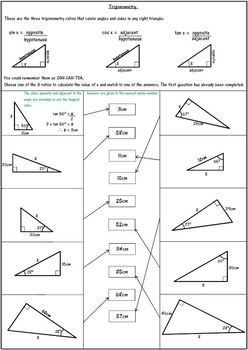 Worksheet Trigonometric Ratios Sohcahtoa Answer Key ...