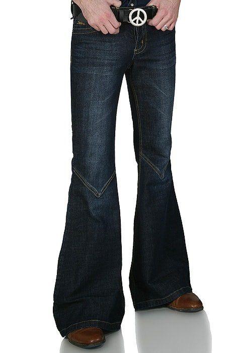 Dunkelblaue 70er Retro Jeans Schlaghose Star Cooper Schlaghose Schlaghose Herren 70er Jahre Mode