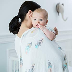 Baby Swaddle Wrap Blanket NewBorn Baby Sleeping Bag Blue Feathers Cotton