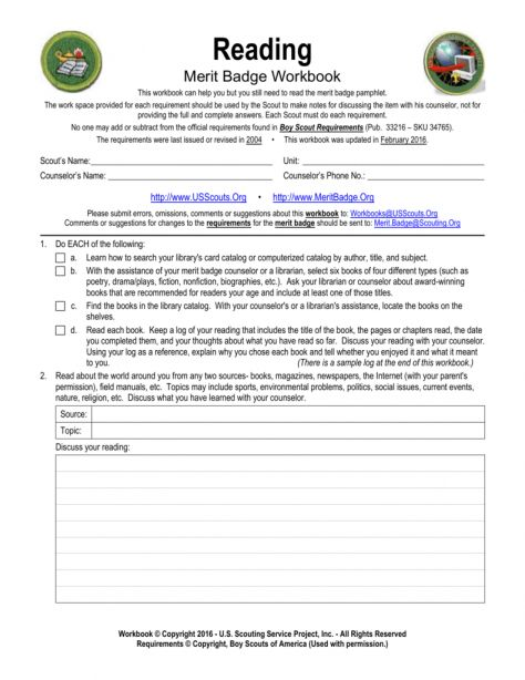 9 Boy Scout Reading Merit Badge Worksheet Reading With Images