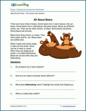 All About Bears Grade 1 Children S Story K5 Learning Reading Comprehension Worksheets Reading Comprehension For Kids Reading Comprehension Grade 1