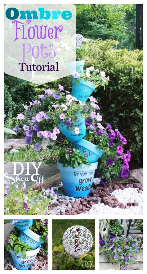 Stacked Stenciled Ombre Flower Pots Tutorial