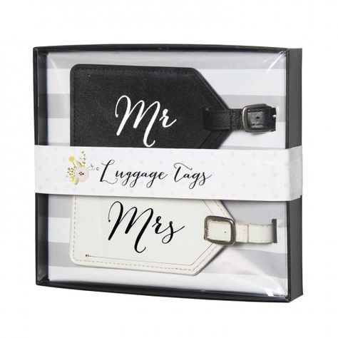 Luggage Tags - True Love | A mix of classic bridal colors popped with black and hint of floral, True Love blends traditional beauty with a modern twist on wedding day must haves and His & Hers gifts that every bride and groom will love.