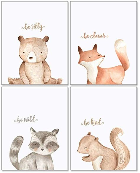 Woodland Nursery Wall Decor Art - Unframed Set of 4 Prints - Forest Creatures Boy Girl Watercolor Quotes Animal Artwork Posters - Bear Fox Raccoon Squirrel: Posters & Prints Woodland Creatures Nursery, Woodland Animal Nursery, Nursery Artwork, Woodland Critters, Bear Nursery, Woodland Nursery Decor, Forest Creatures, Girl Nursery Art, Baby Artwork