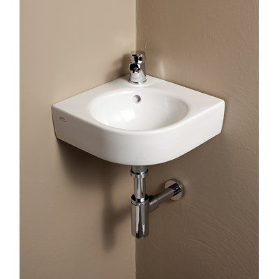 Bissonnet Comprimo Ceramic Specialty Wall Mount Bathroom Sink With Overflow Wall Mounted Bathroom Sinks Corner Sink Bathroom Sink