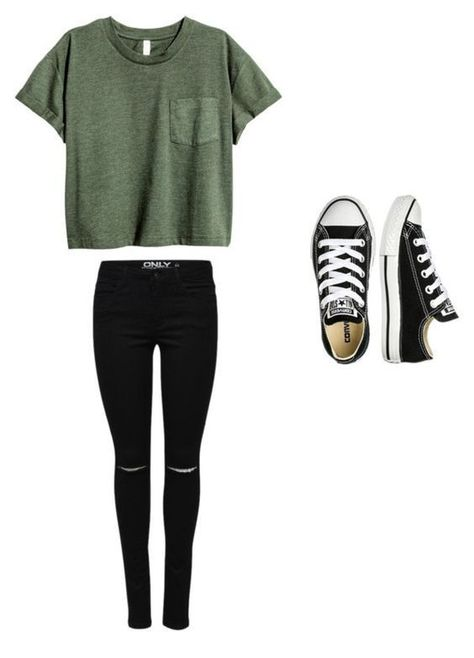 A fashion look from September 2016 featuring Converse sneakers.