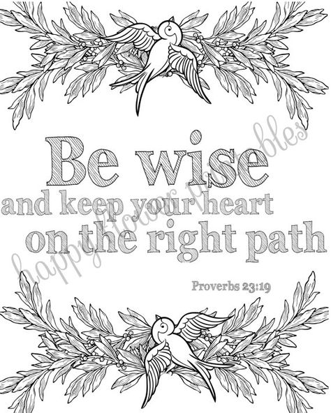 5 Bible Verse Coloring Pages Set 2 Floral by HappyFlowerPrintable ...