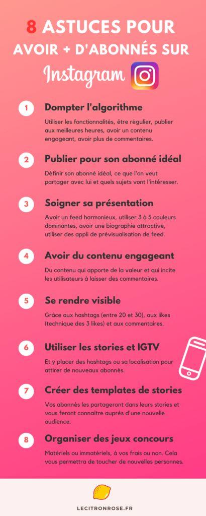 8 astuces pour avoir plus d'abonnés sur Instagram - Le citron rose