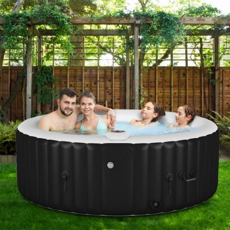 Goplus Portable Inflatable Massage Spa Hot Tub 4 Person Black Con