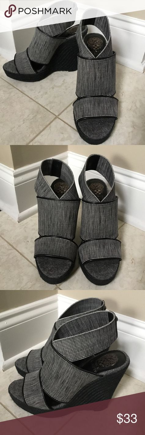 0f3482704f0b Vince Camuto Black Madalisa Sandals Wedges 8.5M Summer linen and earthy  braids of jute work