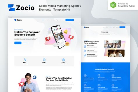 Zocio – Social Media Marketing Agency Elementor Template Kit   Stylelib