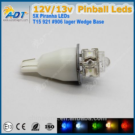 PINK - 6.3 Volt LED Bulb Concave 555 Wedge Base 10 Pack Pinball T10