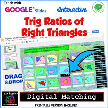 Trig Ratios Of Right Triangles Matching With Google Slides Plus Bonus Printable Version In This Fu Right Triangle Math Centers Middle School Math Word Problems