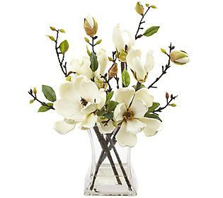 Magnolia Arrangement With Vase By Nearly Natura L Qvc Com Artificial Magnolia Arrangements Artificial Floral Arrangements Artificial Flower Arrangements