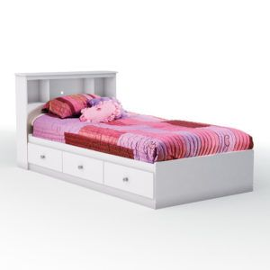 White Twin Bed With Storage Drawers Underneath Twin Bed With