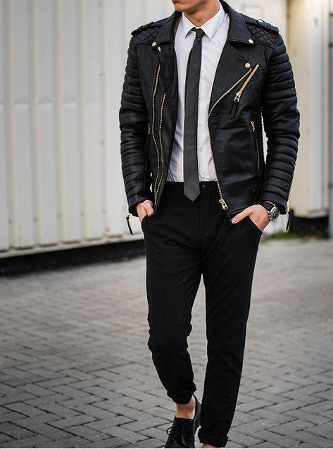 Chain Men Style New Men Fashion Trend Black Motorcycle Leather Jacket, Men Biker Fashion - Outerwear -
