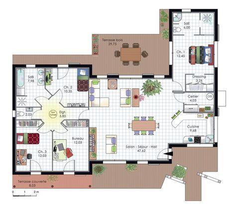 Maison de plain-pied avec trois chambres Construction and House - exemple de plan de construction de maison gratuit