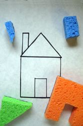 construct complex elements and objects out of simple shapes- Stamp with shape sponges and create your own house / animal...