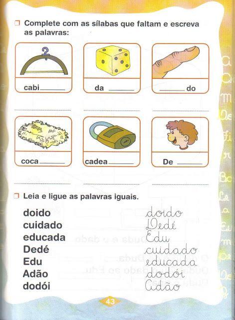 Fichas De Atividades Silabas Simples Da De Di Do Du So Escola