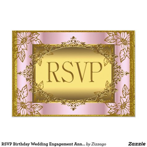 RSVP Birthday Wedding Engagement Anniversary Card Reply Response Pink Gold Elite Elegant Party