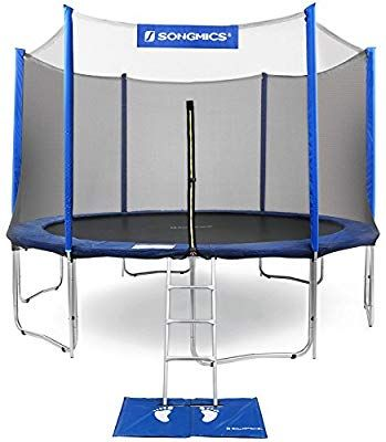 Songmics Outdoor Trampoline 12 Feet For Kids With Enclosure Net Jumping Mat And Spring Cover Padding Tuv Rhe Outdoor Trampoline Kids Trampoline Best Trampoline