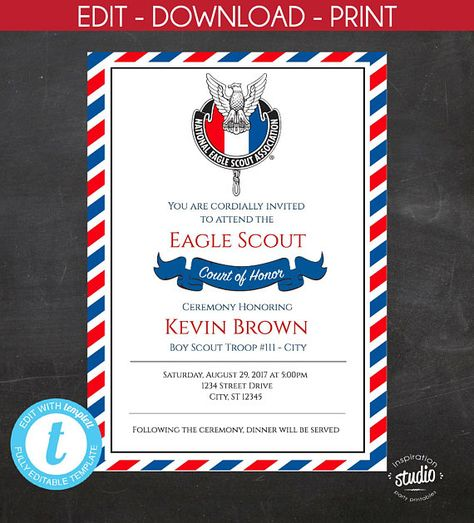 EDITABLE - Eagle Scout  - Court of Honor Invitation -  Boy Scout Invitation -  Custom Printable - Edit yourself, Templett