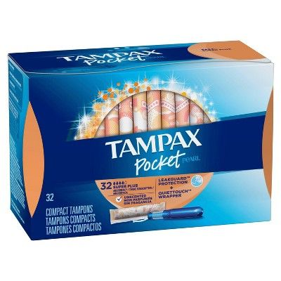Tampax Pocket Pearl Super Plus Absorbency With Leakguard Braid Unscented Plastic Tampons 32ct En 2020 Tampon Aseos