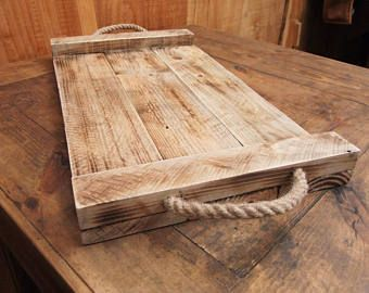 Large Rustic Serving Tray Wooden Tray Made From Reclaimed Pallet Wood Pallet Wood Tray Wood Tray Wooden Tray