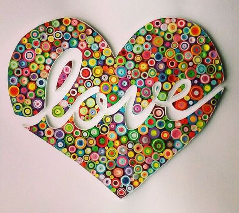 Quilling paper art design: love handmade gift home decor for her for him anniversary wedding wall art