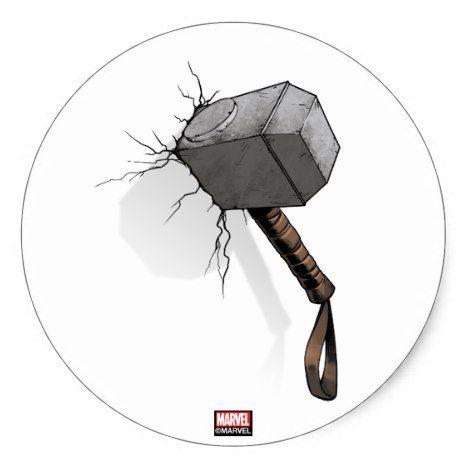 Avengers Classics Thor S Hammer Struck Classic Round Sticker