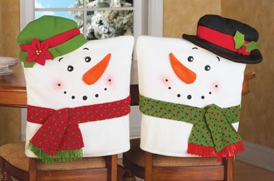 Set of 2 Snowman Kitchen Chairs Cover Decoration