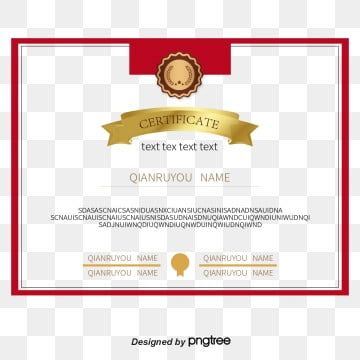 Red Border Certificate Of Merit Png And Vector Certificate Border Certificate Certificate Templates