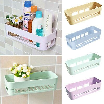 Advertisement Kitchen Bathroom Shower Shelf Rack Organizer Storage Holder Wall Mounted Basket In 2020 Shower Shelves Bathroom Corner Storage Kitchen Corner Storage
