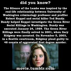 An Interesting Connection Between Hanniballecter And Real Life Serialkiller Tedbundy Fun Movie Facts Movie Facts Horror Movie Characters