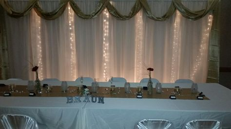Head Table At Knights Of Columbus In Defiance Ohio Uplighting Wedding Head Table Decor Knights Of Columbus