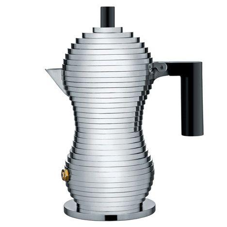Memphis Group founding member Michele De Lucchi has designed a ribbed aluminium coffee moka for Alessi.