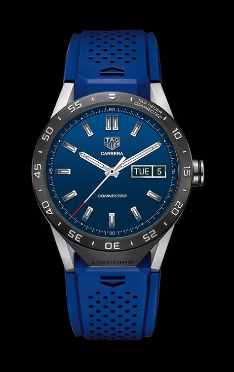 TAG Heuer's Connected luxury smartwatch debuted in New York today. Connected's time display remains visible at all times like a traditional wristwatch. Stylish Watches, Luxury Watches, Cool Watches, Modern Watches, Fine Watches, Wrist Watches, Tag Heuer, Mens Designer Watches, Skeleton Watches