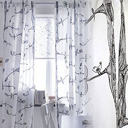 Pair Of Tree And Bird Pattern Curtains Each Panel Measures 98
