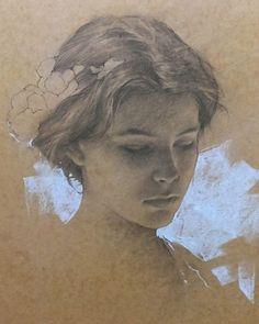Artist: Romel de la Torre (b. 1963), pencil on toned paper {figurative art beautiful female head woman face portrait drawing #loveart}