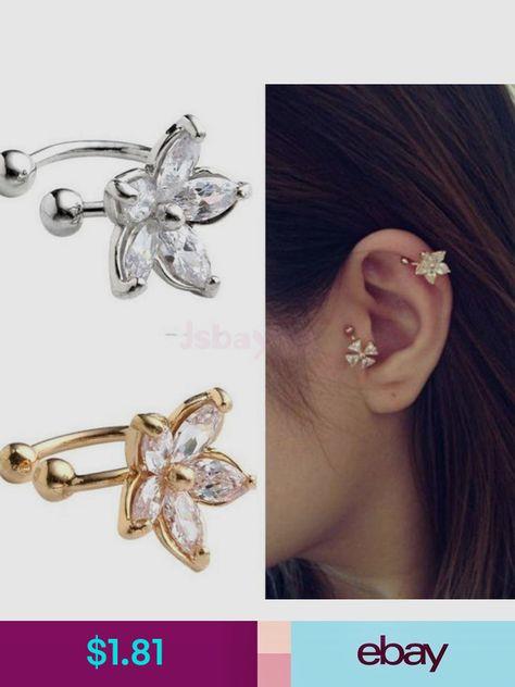 925 Sterling Silver Crystal Wishing Star Moon Clip On Cuff Earrings No Piercing