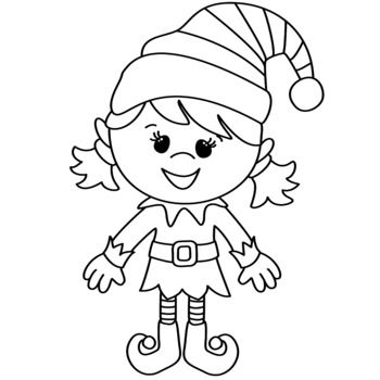 Christmas Elf Clipart By Top Teaching Tidbits Teachers Pay Teachers Printable Christmas Coloring Pages Elf Clipart Cross Stitch Patterns Christmas