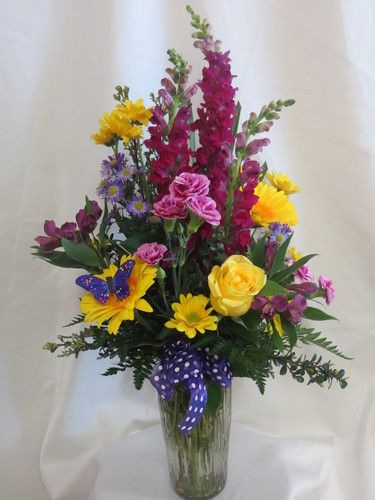 Purple People Pleaser Flower Bouquet With Yellow Roses Yellow Flower Arrangements Memorial Flowers Spring Flower Arrangements